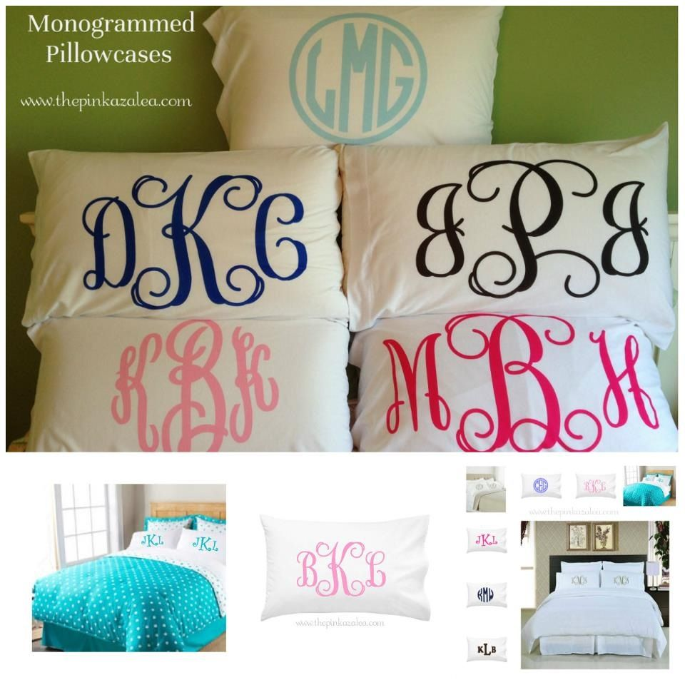 Monogram Pillow Cases My Monogram Last Already In Middle Is Clk I Would Want White Pillow Cases With Pink Lettering Monogram Pillows Vinyl Monogram Monogram
