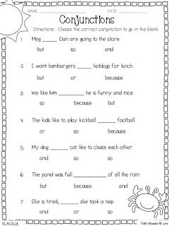 Two Freebie Sets First Grade Worksheets Conjunctions Worksheet