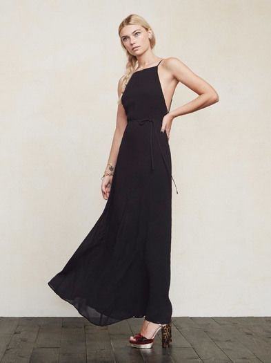 """Just a really lovely thing you'll want to wear everywhere. The Samata Dress is a georgette gown with a high neckline, adjustable thin straps and an open back. The fit is close in the bodice then loosens up through the skirt. There's also a self belt in case you want more of a waist. This style runs a bit short and is best worn with flats, or on ladies 5'7"""" and under. Perfect for a beach wedding or just brunch. Made from 100% viscose."""