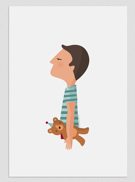 Ilustracion Chico Con Oso Lamina Para Decorar Tu Hogar Regalo