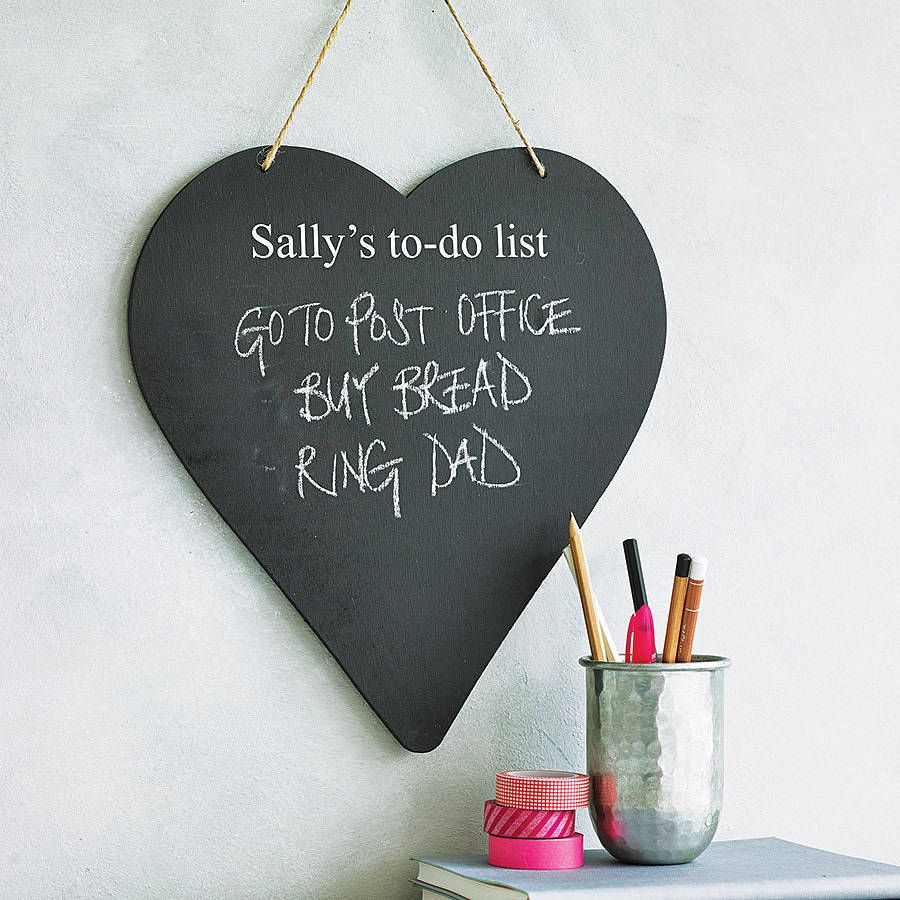 Personalised heart chalkboard chalkboards seahorses and chalk holder