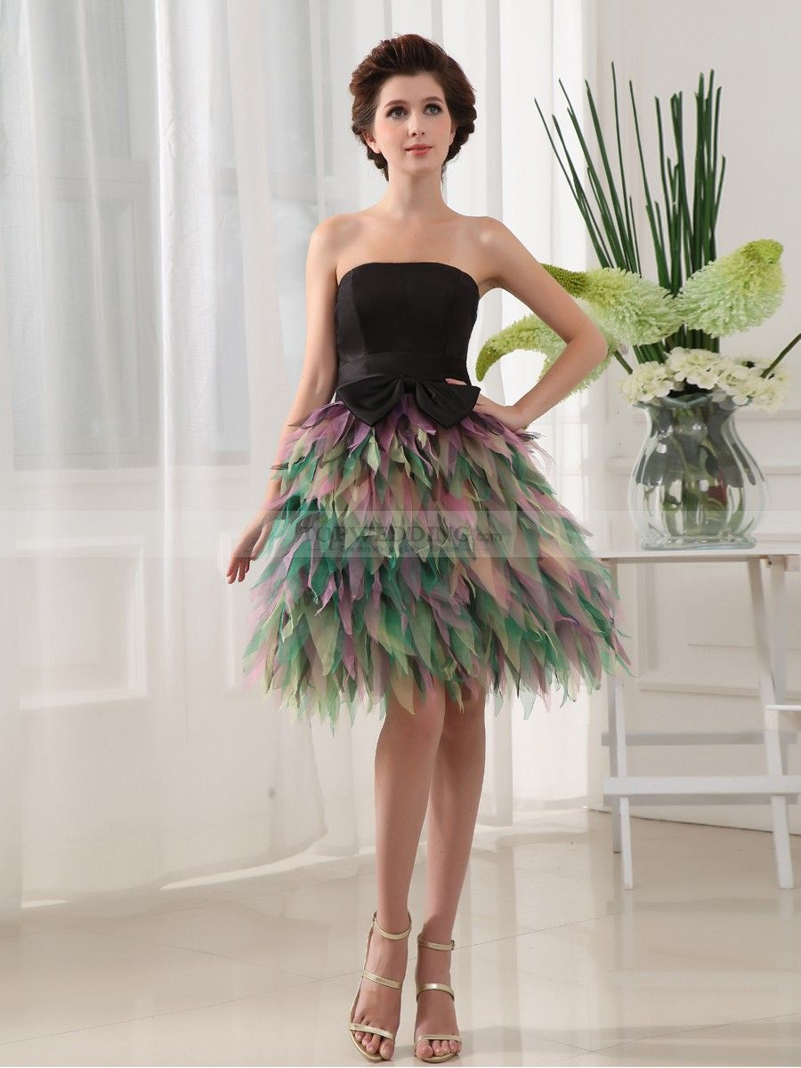 Meiriona - Peacock Inspired Strapless Cocktail Dress with Bowknot ...