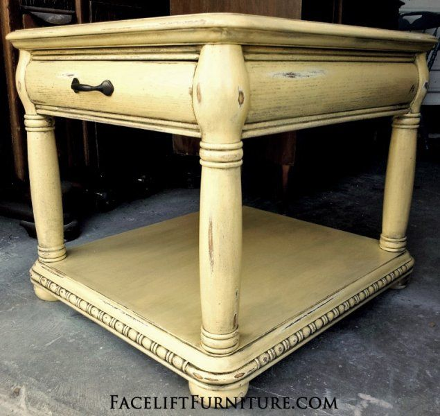 Charmant Yellow Chunky End Table With Black Glaze. From Facelift Furnitureu0027s End  Tables Collection.