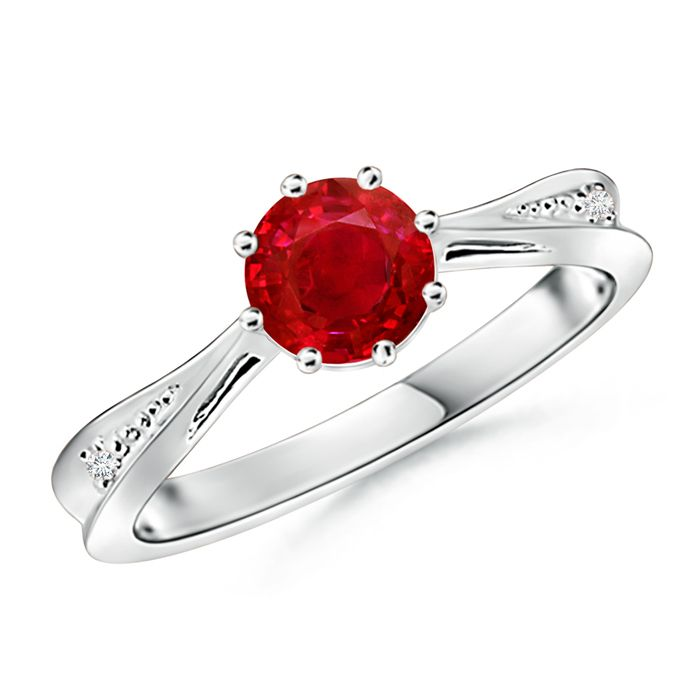 Angara Solitaire Ruby Crossover Shank Ring with Diamond in 14k White Gold gWpgj5SI