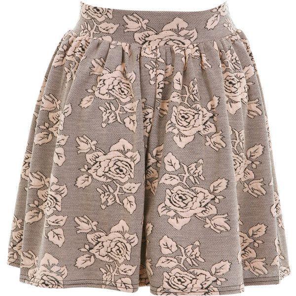 Miss Selfridge Rose Jacquard Skater Skirt (87 BRL) ❤ liked on Polyvore featuring skirts, bottoms, saias, gonne, nude, skater skirt, flared skirt, jacquard skirt, floral print skirt and floral skater skirt