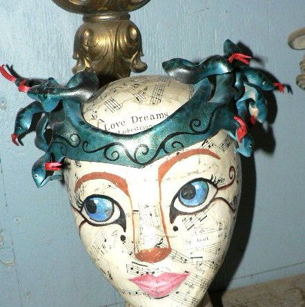 Medusa headpiece teal blue with green and black by faerywhere, $54.00