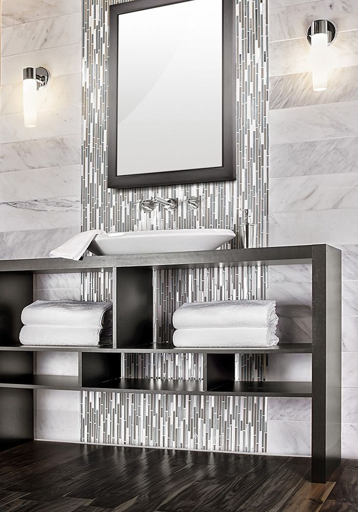 Stacked Statuario Wall Tile With Glass And Stone Accent Waterfall Behind Mirror Dramatic Dark