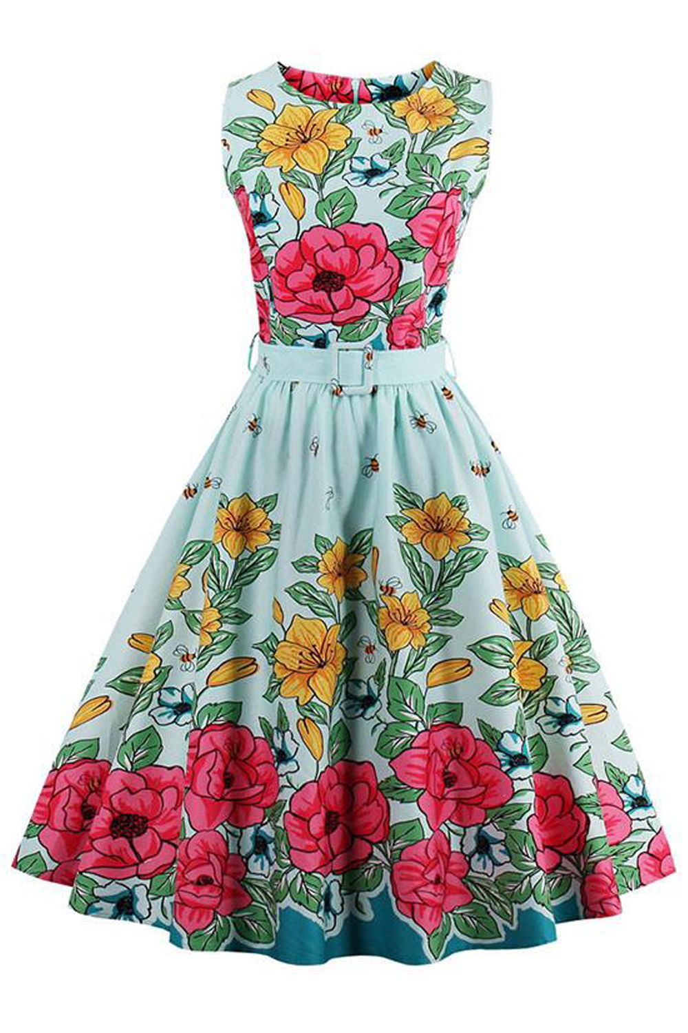 Atomic 1950\'s Floral Rockabilly Cocktail Dress | Rockabilly, 1950s ...