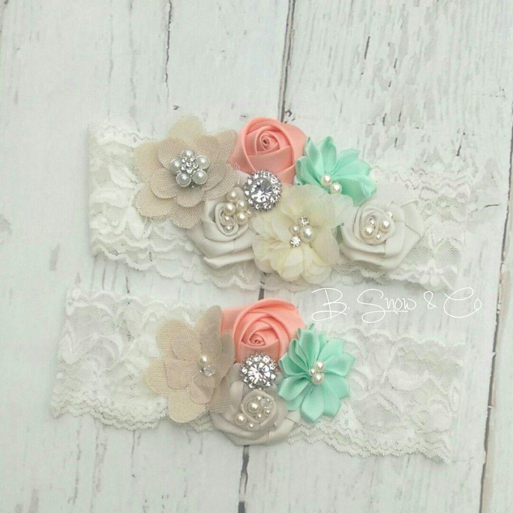 Beach Wedding Garter: Coral And Mint Bridal Garter Set Toss & Keepsake