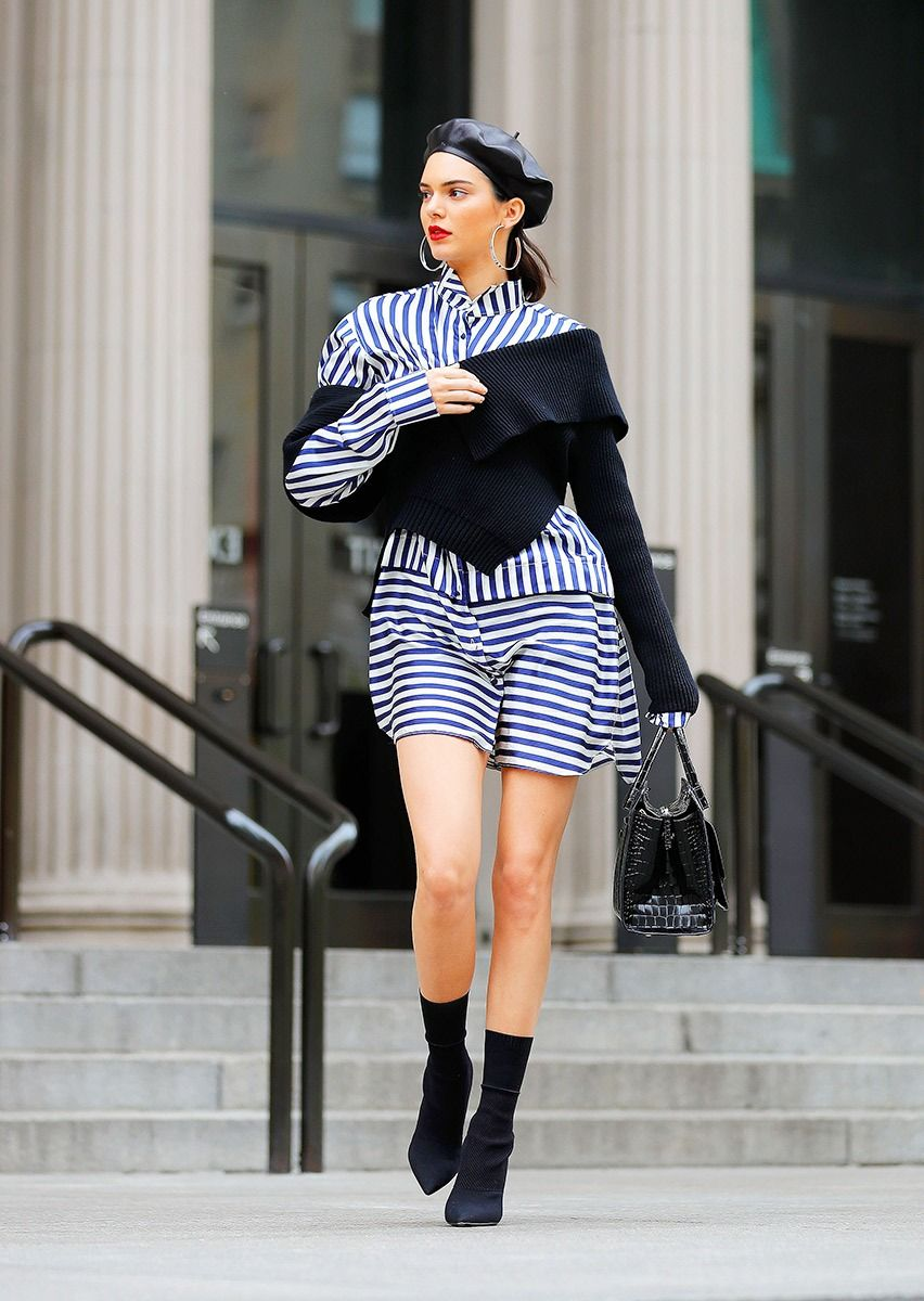 57434e1c61f Kendall Jenner looks amazing in this Striped Dress and Leather Beret Hat...  so parisian chic.