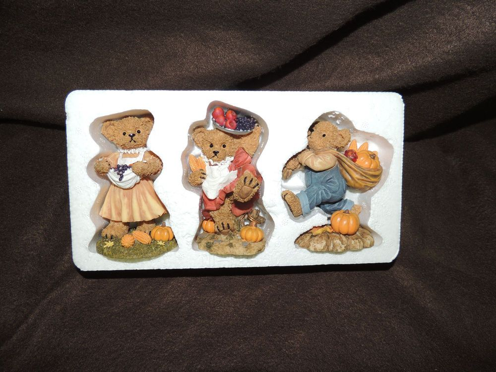 HomcoHome Interiors Fall Harvest Bears MIB11768 Cute Fast