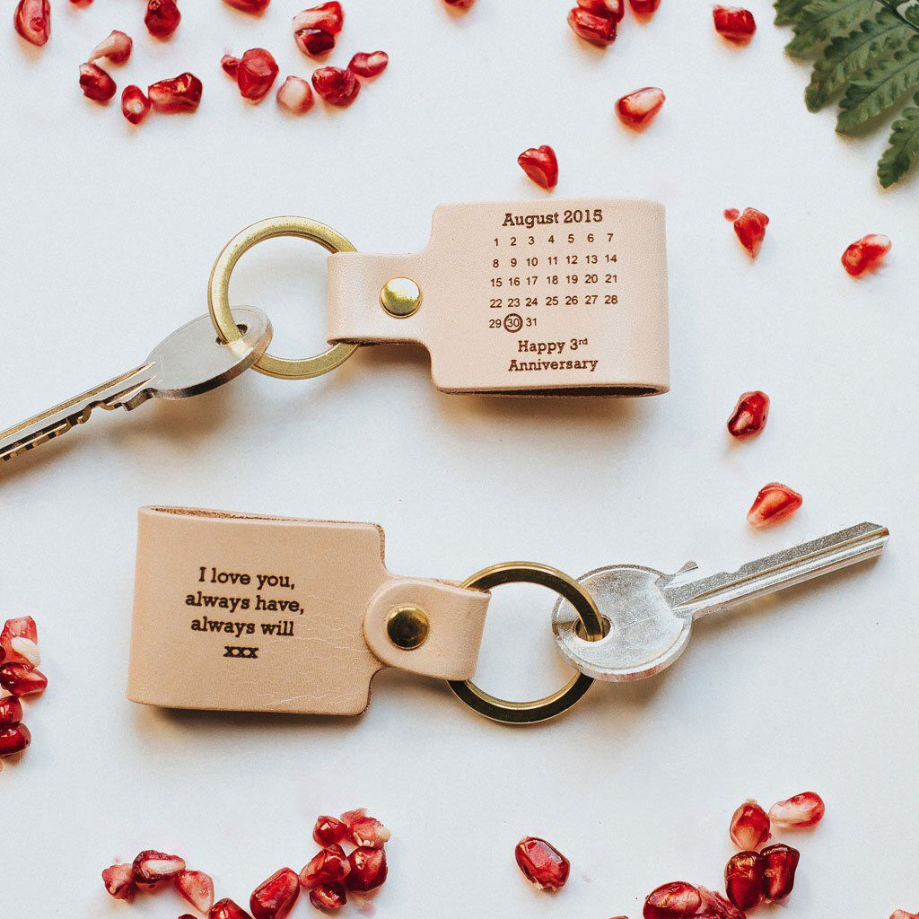 Personalised Calendar Date Keychain, Natural Leather