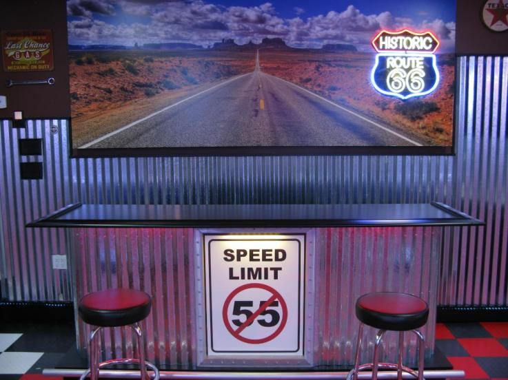 Man cave 500sft outbuildings made this route 66 wall for Garage route 66 metz