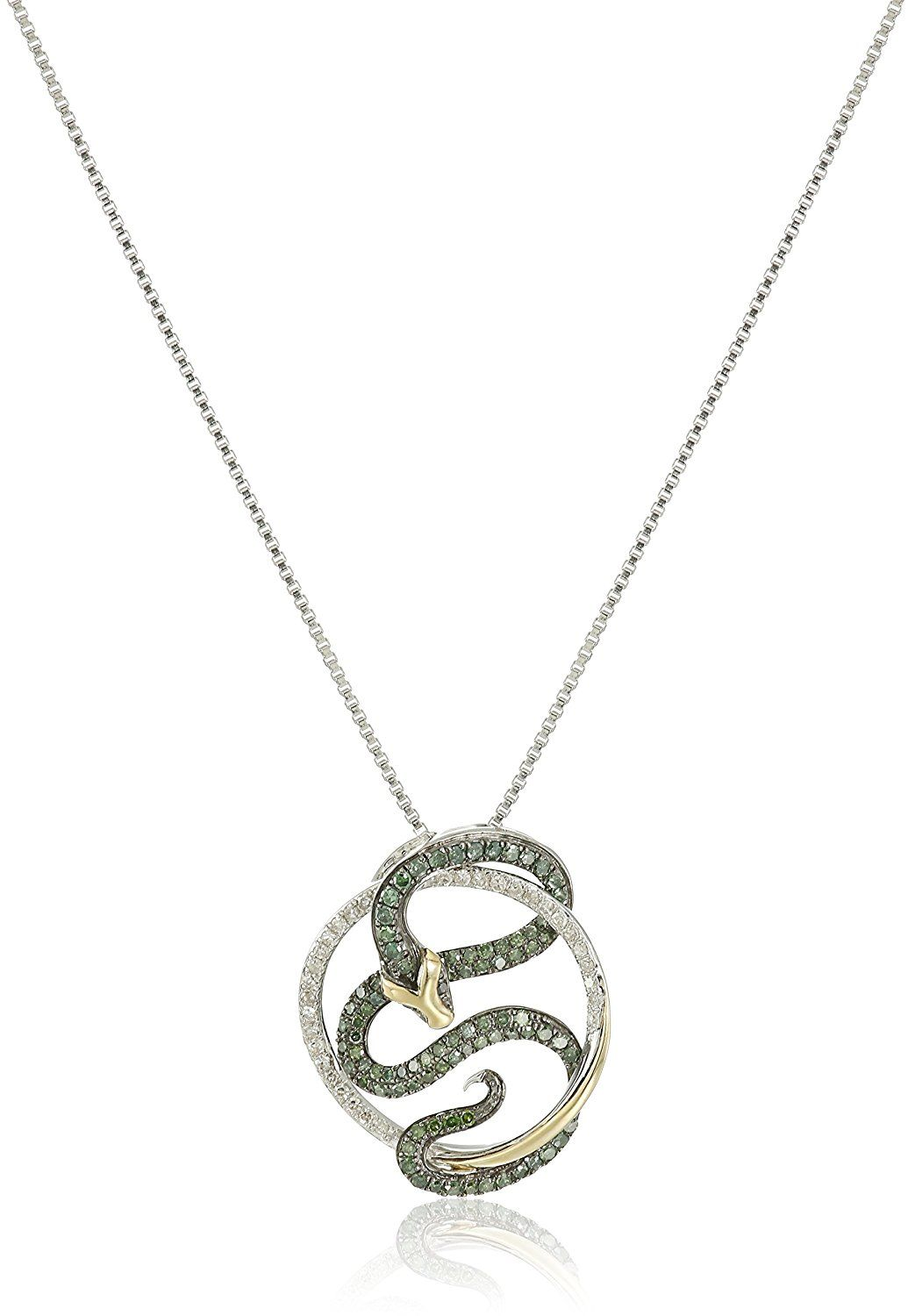 K Yellow Gold Sterling Silver Diamond Snake Pendant Necklace