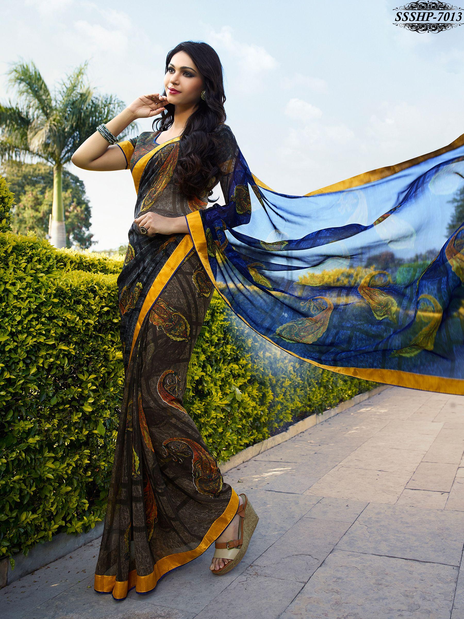 Images of saree brown u blue colour georgette lace border saree