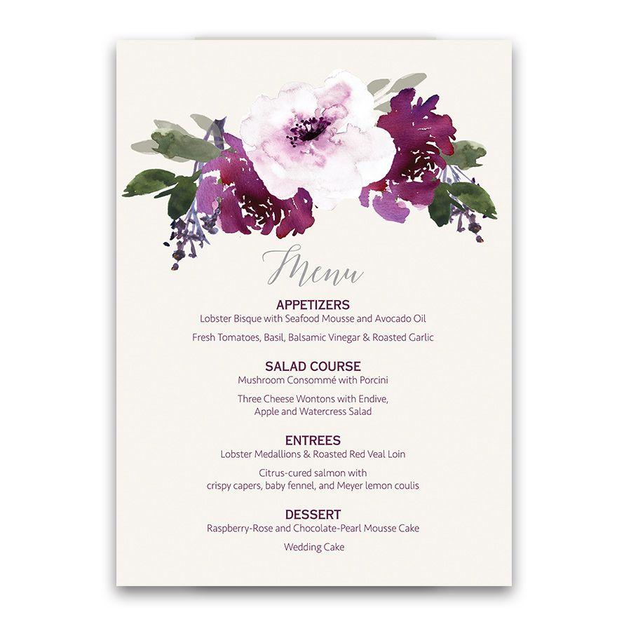 Rustic Burgundy Purple Floral Script Wedding Invitations: Burgundy Purple Floral Watercolor Wedding Menu Designed To