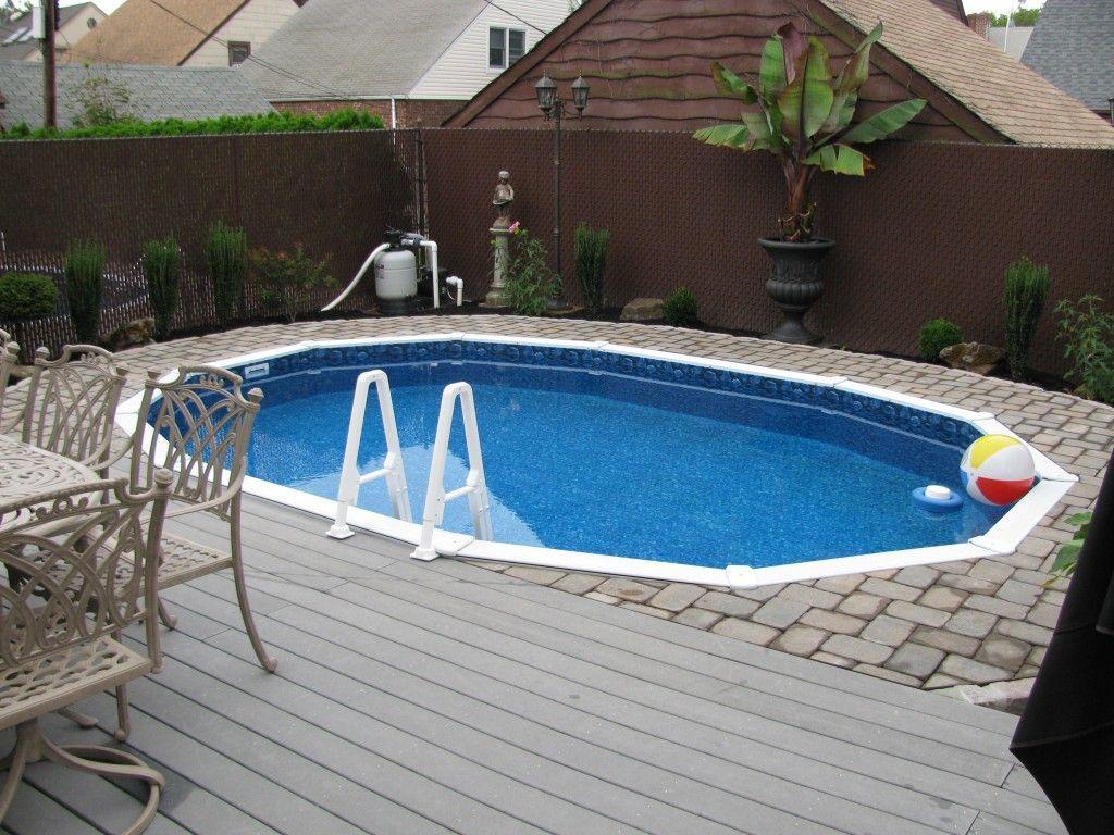 Semi inground pools with decks concrete floor panels for Inground pool ideas