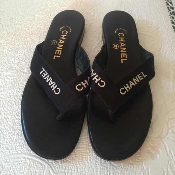 b02443bc2 Authentic Chanel flip flop Chanel flip-flops black size 7.5. Shows wear on  the bottom. CHANEL Shoes Slippers