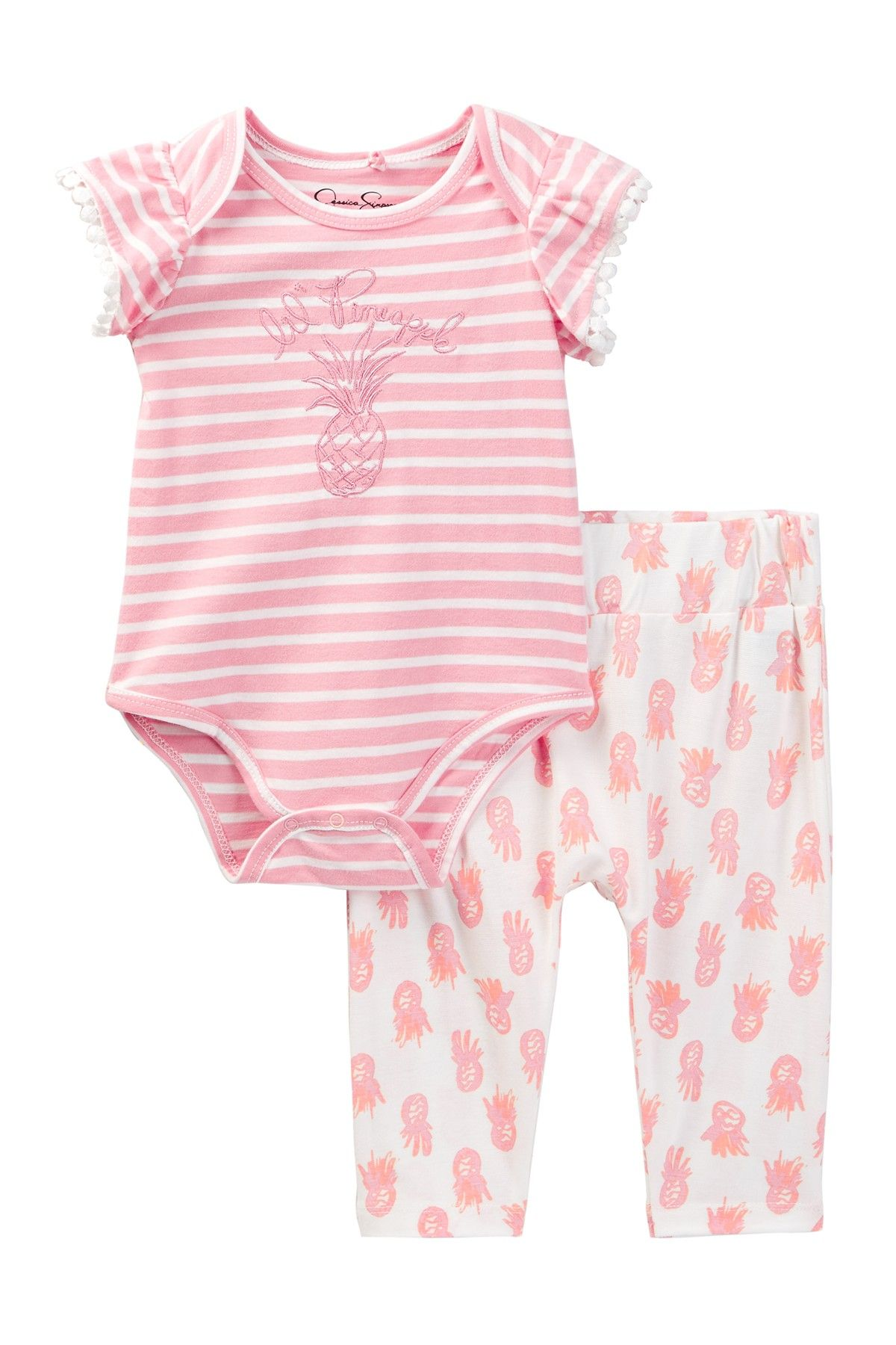 Jessica Simpson Bodysuit & Printed Pant Set Baby Girls