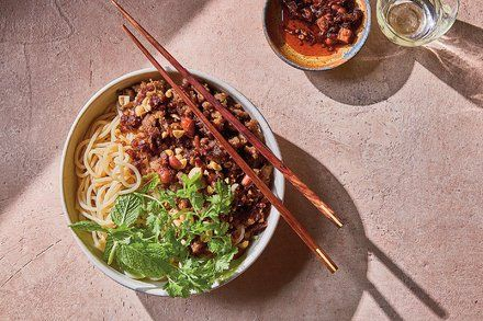 Rice noodles with spicy pork and herbs.   Spicy pork, Herb ...