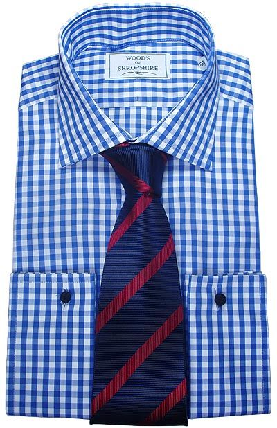 Blue Red stripe tie on blue gingham dress shirt | Dress clothes ...