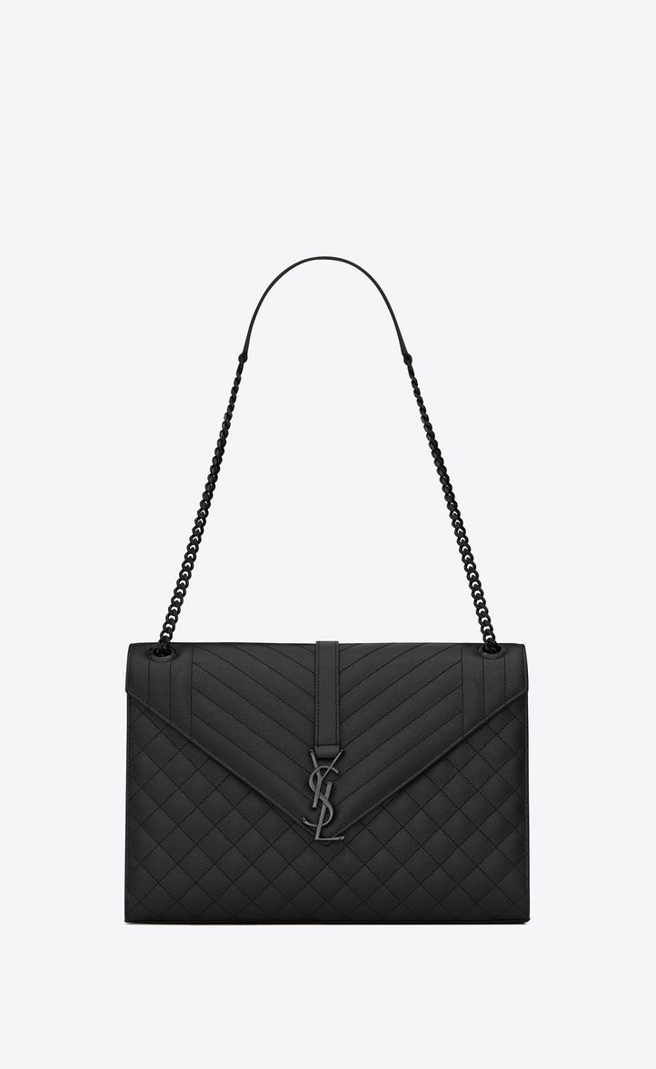 Large Envelope Chain Bag In Black Textured Mixed Matelass 233