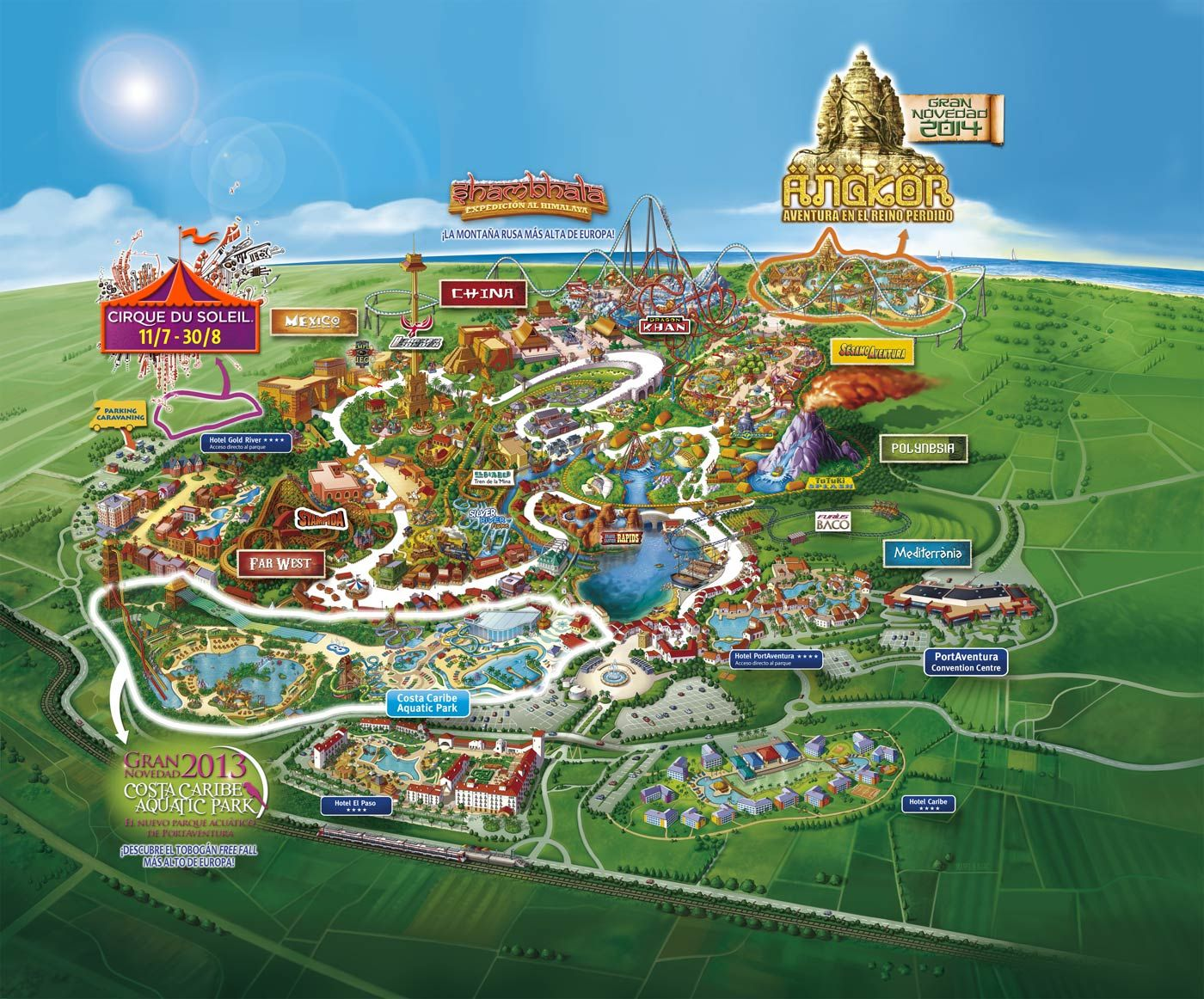 port aventura 2014 map salou catalonia amusement parks pinterest amusement parks and park. Black Bedroom Furniture Sets. Home Design Ideas