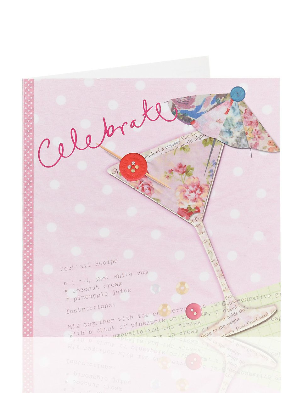 Fabric Cocktail Birthday Card M&S Birthday cards, Cards
