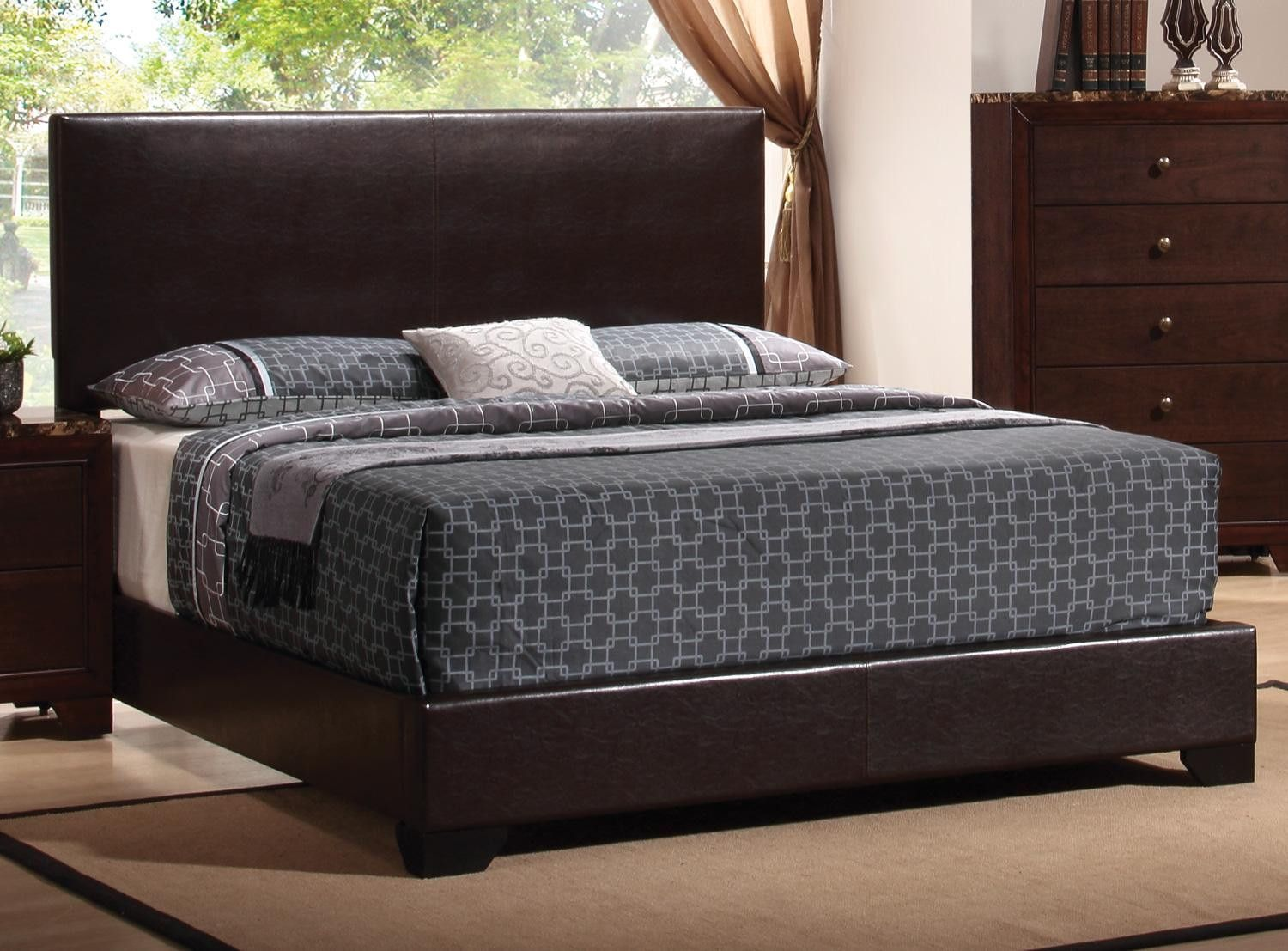 Competitor S Price 335 California King Faux Leather Upholstery High Straight Headboard Bracket Feet Queen Upholstered Bed Upholstered Beds Cal King Bedding