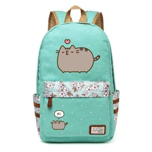 3bf7b5372cd4 Pusheen Cat Canvas bag unicorn Flower wave point Rucksacks backpack for  teenagers Girls women School Bags travel Shoulder Bag