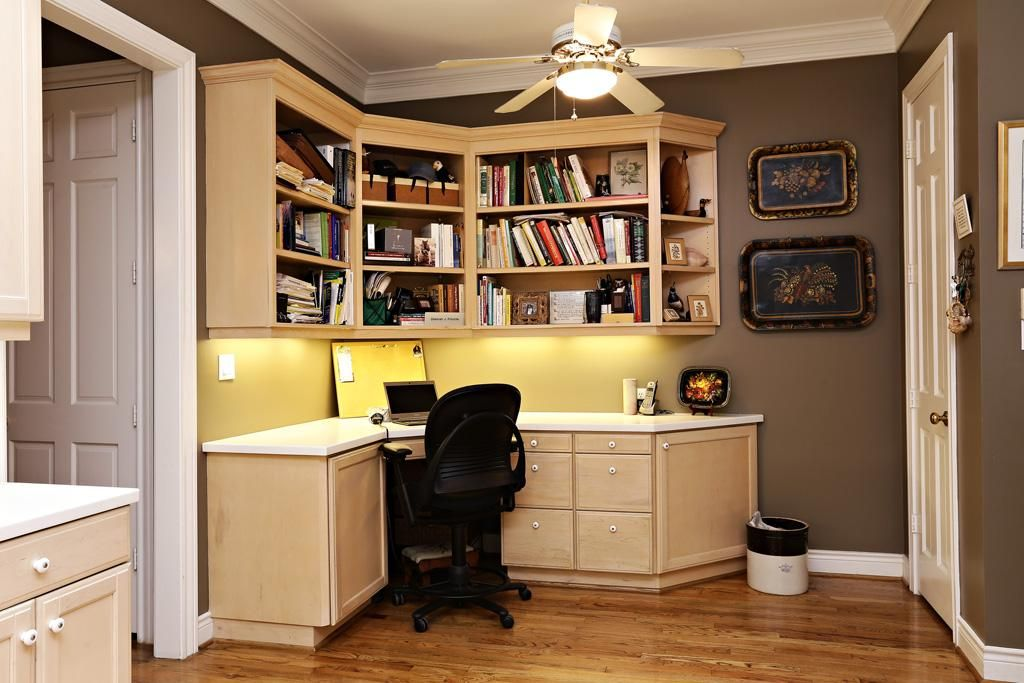 In The Corner Of The Kitchen Is This Built In Desk With Adjustable Upper Shelves And File Size Built In Shelves Living Room Living Room Built Ins Built In Desk