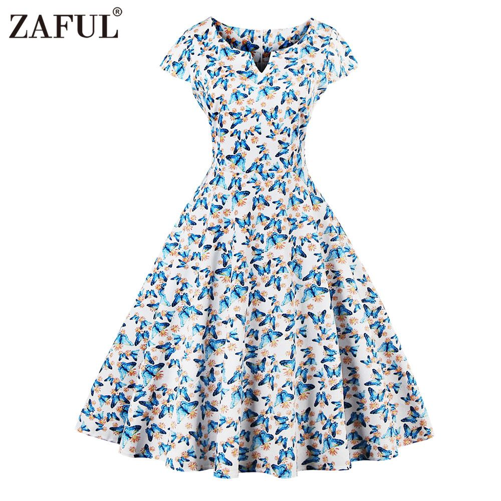 43faf9e5976fe ZAFUL 2017 Vintage Butterfly Print Summer Dress Women Robe ...