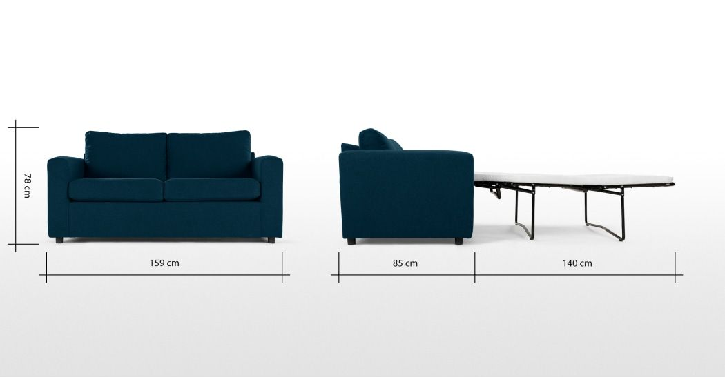 Sofa Cama De 2 Plazas Con Colchon De Espuma Felix De Made Essentials Azul Shetland Schaummatratze Matratze Und Schlafsofa