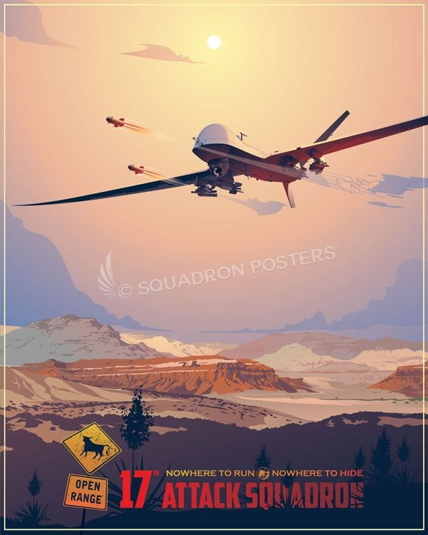 17th Attack Squadron Mq 9 Unmanned Aerial Vehicle Aviation Posters Military Poster