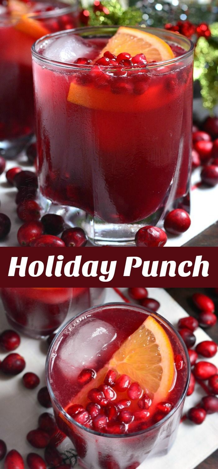 Christmas Punch Recipe. This punch is made with pomegranate seeds, oranges, pomegranate juice, orange juice, cranberry juice, and sparkling soda. Make it with or without alcohol. #drink #cocktail #punch #pomegranate #cranberry #orange #holiday #thanksgivingdrinksalcohol