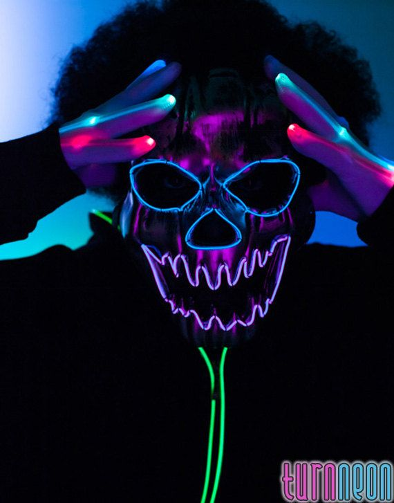 Light Up Glow edm Big Terror EL Wire LED Rave Mask For Halloween ...