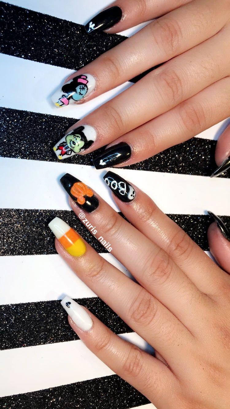 Mickey Halloween nails | Halloween nails, Mickey halloween ...