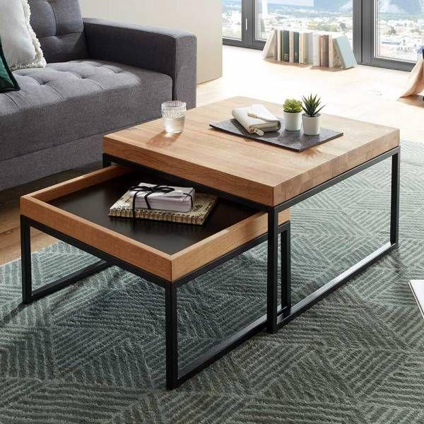 Couchtisch Set Syrec In Schwarz Und Wildeichefarben Im Skandi Design 2 Teilig Coffee Table With Storage Coffee Table Minimalist Living Room Decor