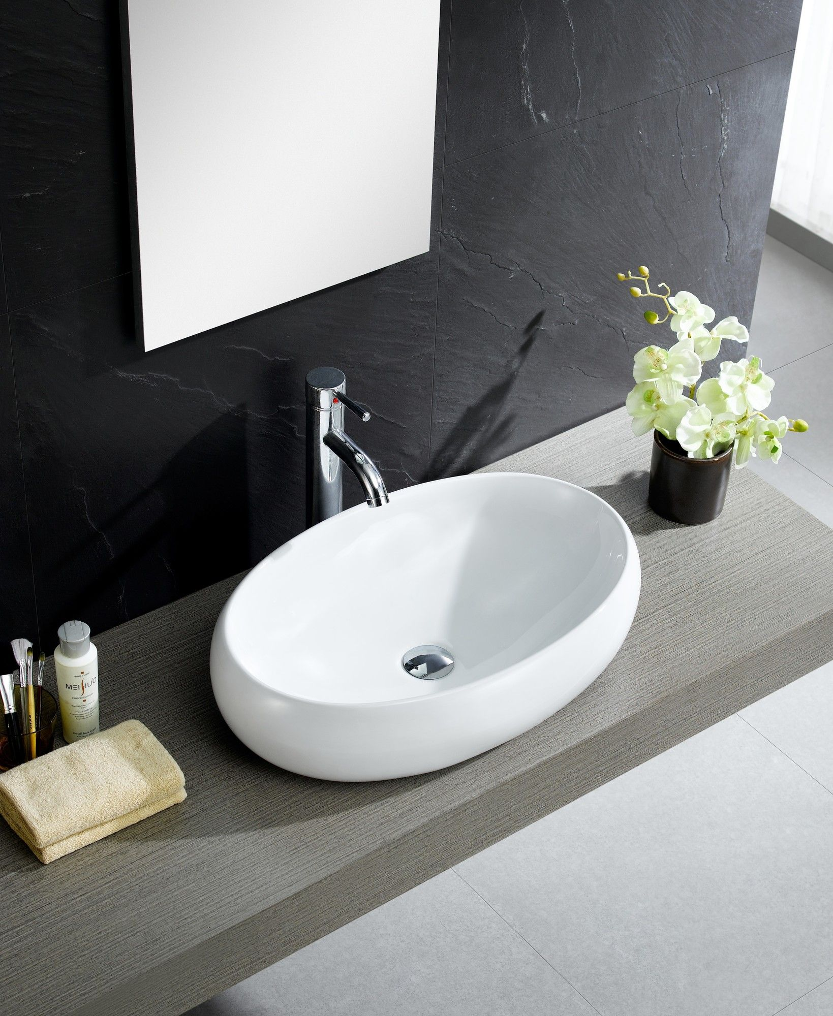 Modern Vitreous China Bulging Oval Vessel Sink Vessel Bathroom