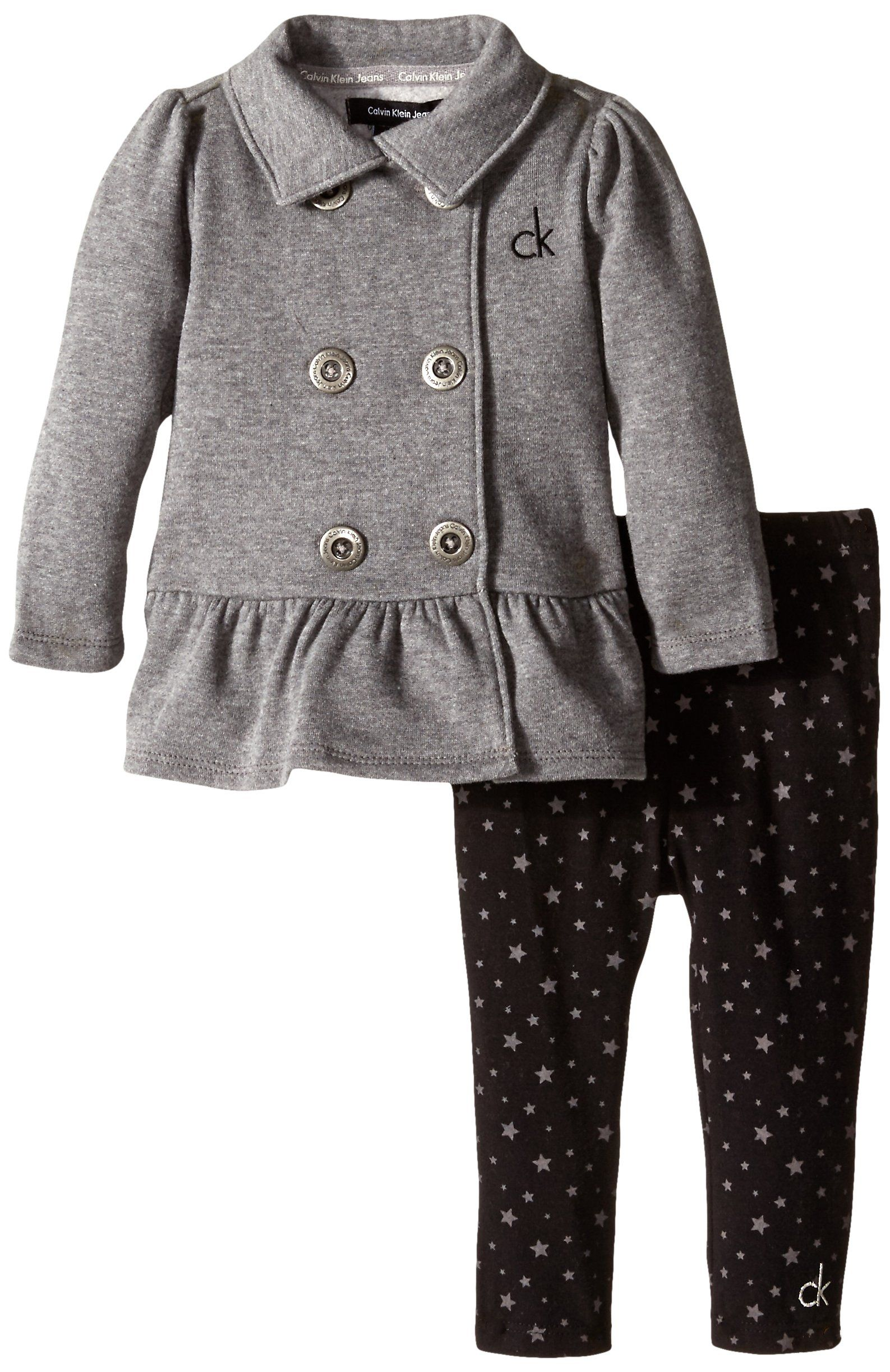 Calvin Klein Baby Girls Gray Jacket with Printed Pants Gray 24