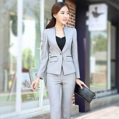 Elegante Mujeres Formal De Oficina Negocios Traje Blazer Chaqueta y  Pantalón Para Ropa De Trabajo be165837d4f7
