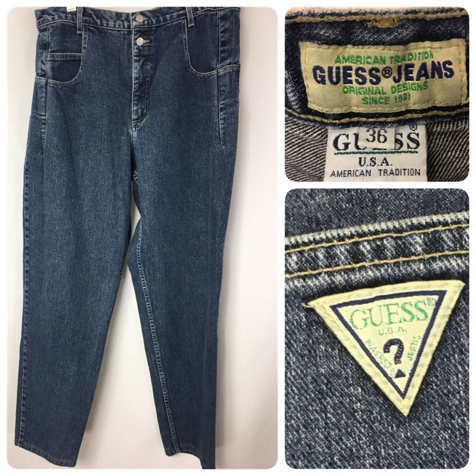 96111e28b4b Vintage 80s 90s GUESS Denim Pascal Jeans Bell Button Tapered Style 10075 36  x 34 #GUESS #Vintage