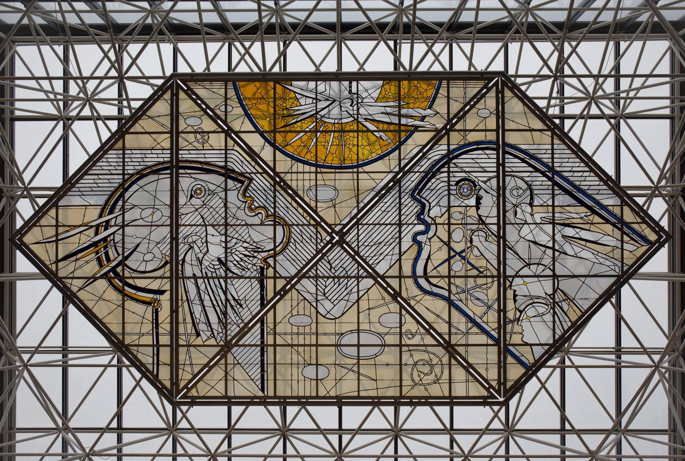Stained glass in Keflavík International Airport, Iceland