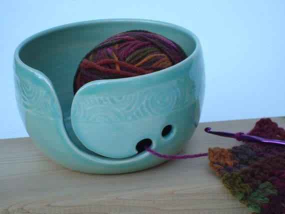 Pottery Yarn Bowl with hand carved design, Aegean Blue-Green color, Knitting bowl, Crochet bowl #crochetbowl Pottery Yarn Bowl with hand carved design Aegean door TohkiyaPottery, $36.00 #crochetbowl