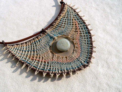 Aquamarínový útes - paličkovaný šperk