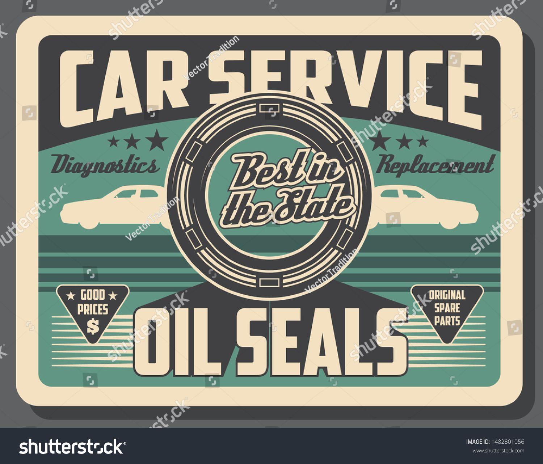 Car Service Center Vintage Poster Automobile Engine Oil