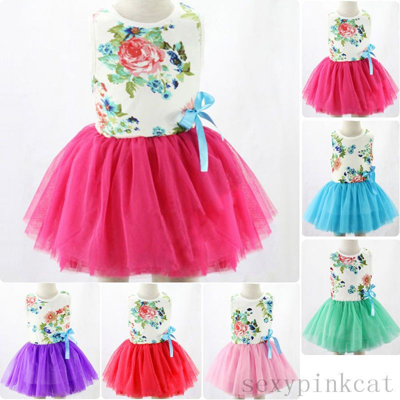 ac367717b62  1.39 - Baby Kids Girl Toddler Princess Pageant Party Tutu Lace Bow Floral Dress  1-