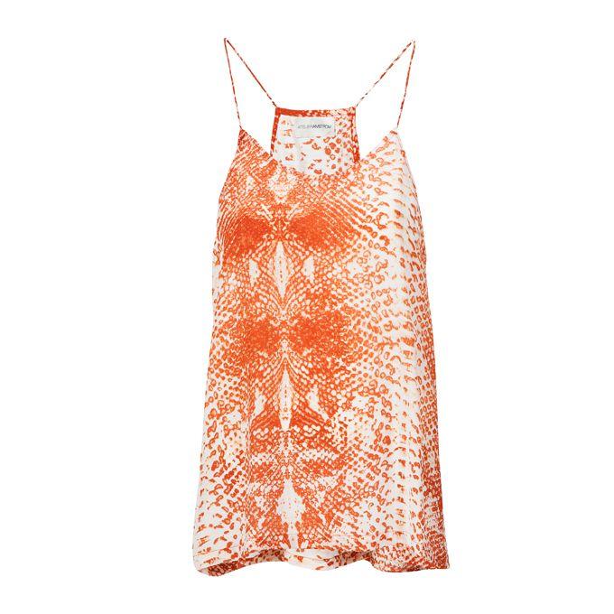 Orange singlet top Handprinted Crepe Silk ATELIERAMSTRDM 2015