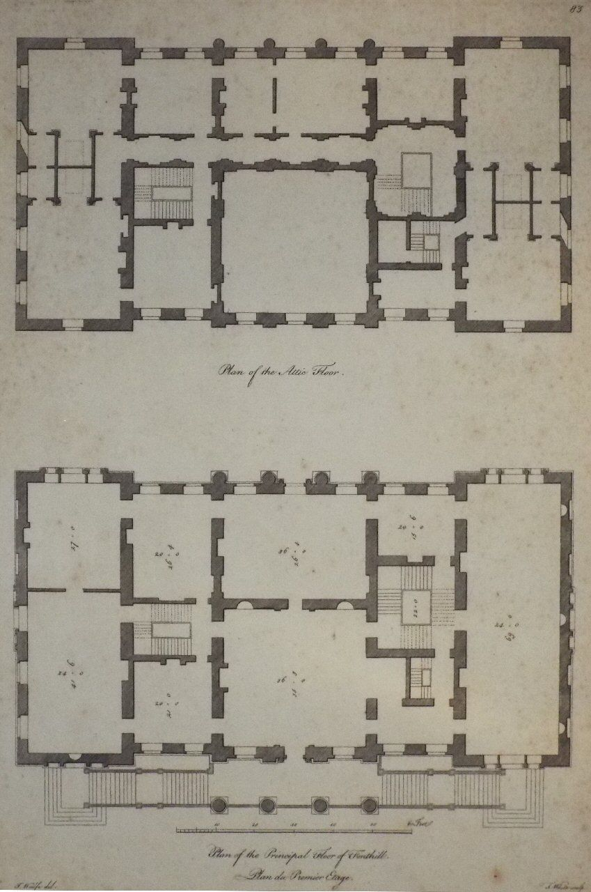 Antique Print Plan Of The Attic Floor Plan Of The Principal Floor Of Fonthill Plan Du Premier Etage How To Plan Fonthill Traditional Architect