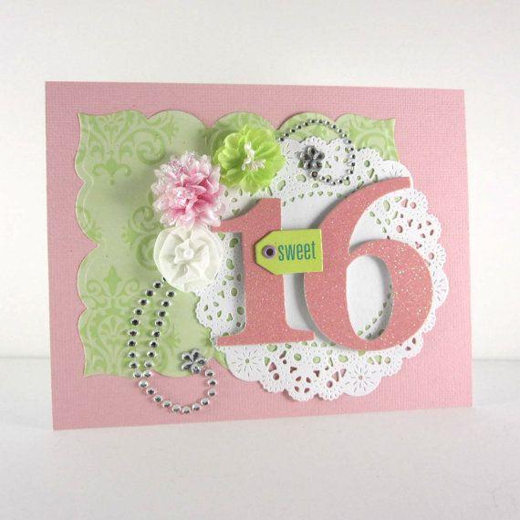 Sweet 16th Birthday Card Sweet 16 Handmade Embossed Card Pink And Green 16th Birthday Card Birthday Cards Handmade Birthday Cards